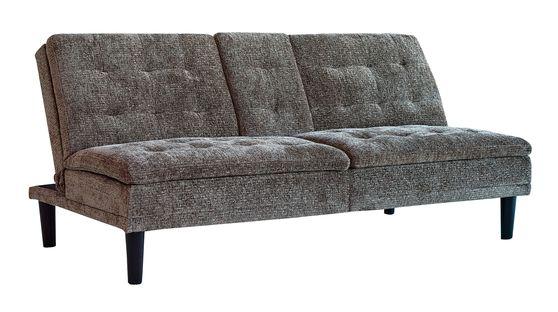 Beige chenille sofa bed w/ center console