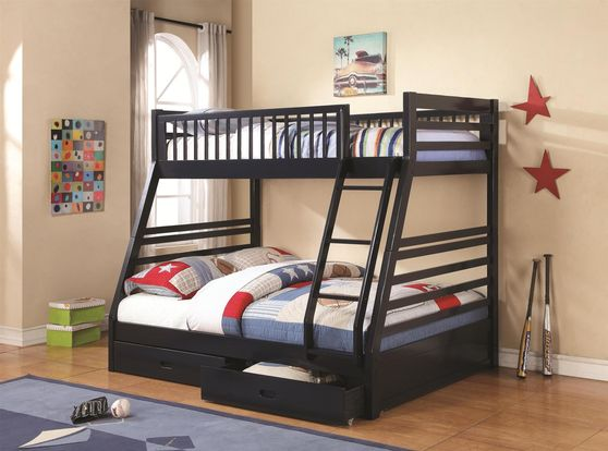 Twin-over-Full Bunk Bed in navy blue