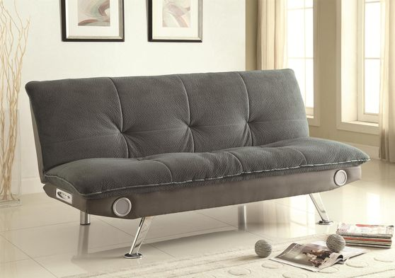 Gray padded texturized velvet sofa bed