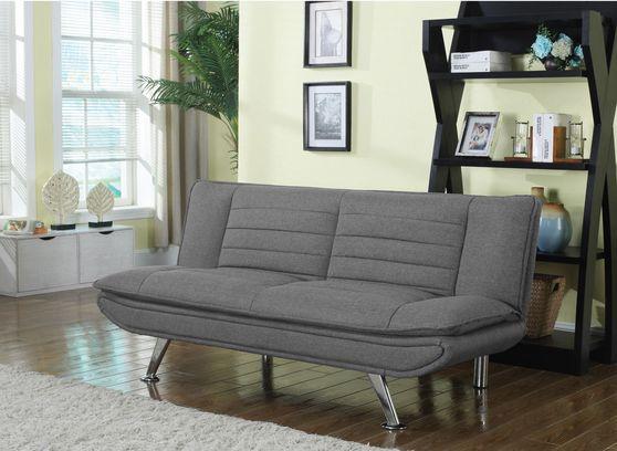 Gray woven fabric sofa bed