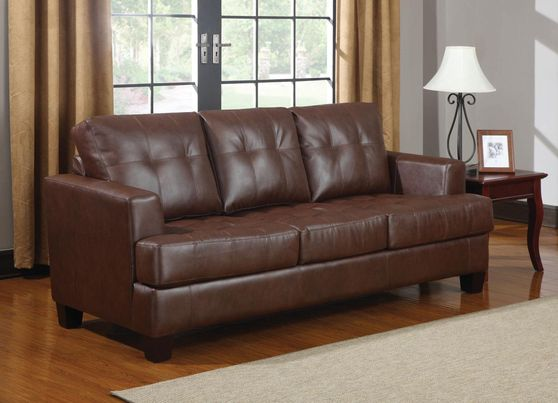 Cinnamon brown sofa bed w/ pull-out sleeper
