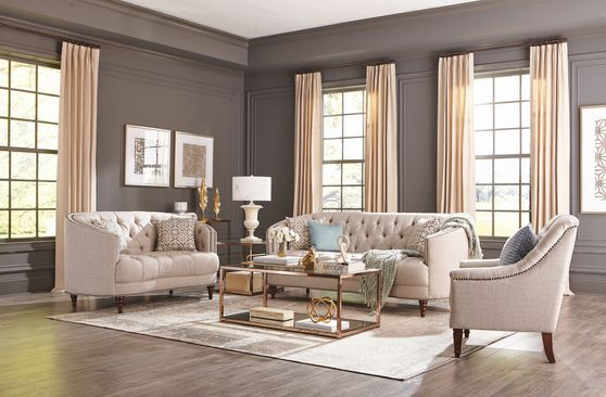 Linen-like stone gray fabric classic tufted sofa set