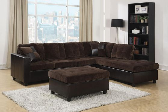 Two-toned casual espresso sectional sofa