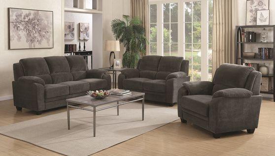 Gray chevron fabric comfy living room set