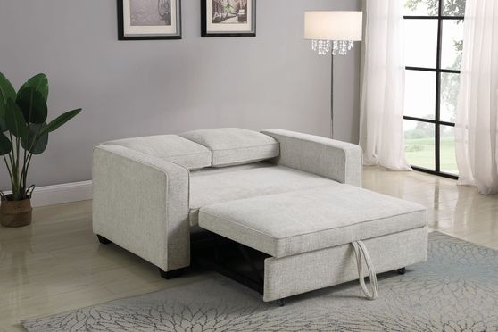 Sleeper sofa bed in beige chenille fabric