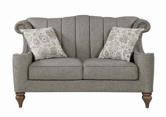 Brown / gray chenille fabric casual style loveseat