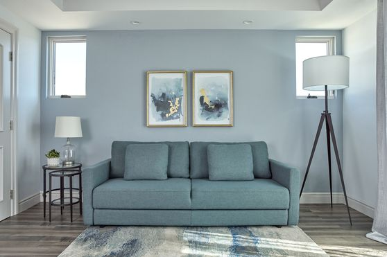 Blue linen-like fabric sofa bed / sleeper sofa