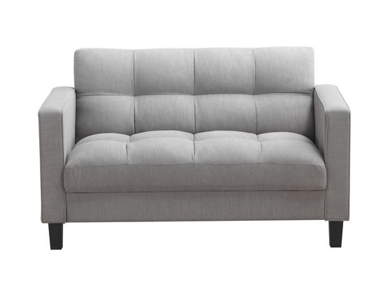 Woven gray fabric grid tufting style loveseat
