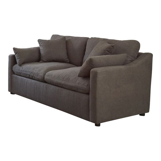 Perfrormance fabric casual style loveseat in charcoal