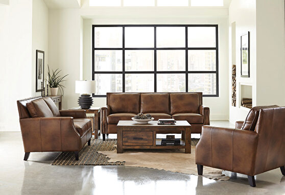 Sofa beautifully mottled top grain brown leather upholstery