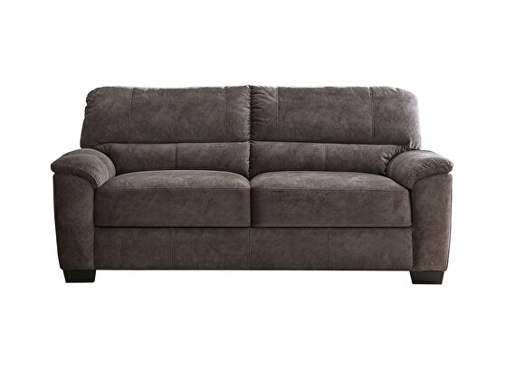 Velvety soft upholstery in a marbled charcoal gray loveseat