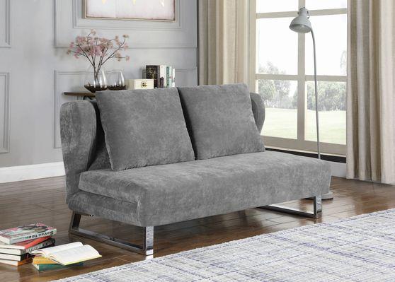 Velvet gray fabric sofa bed w/ chrome legs