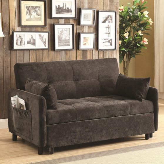 Dark brown twill fabric sleeper / sofa bed