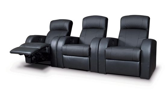 Black leather theater 3-seater recliner