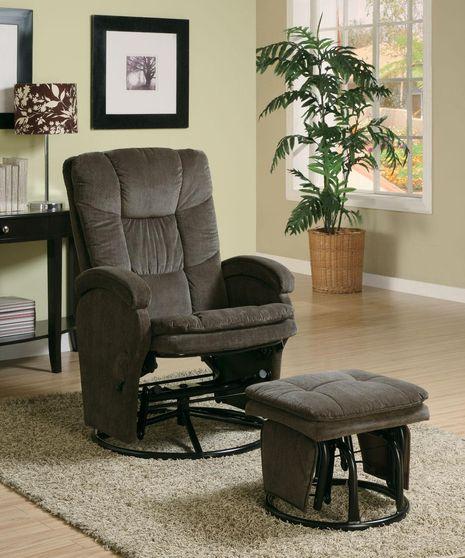 Glider chocolate chair + ottoman