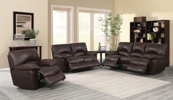Brown leather motion rocker reclining sofa