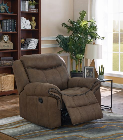 Transitional taupe glider recliner