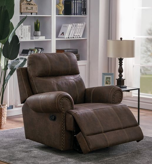 Glider recliner in faux brown suede fabric