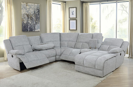 Six-piece modular motion sectional upholstered in a gray performance-grade fabric