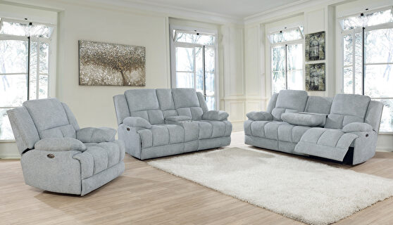 Motion sofa upholstered in gray performance fabric