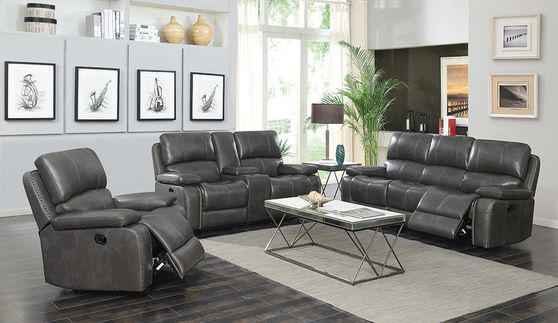 Casual charcoal leather motion sofa