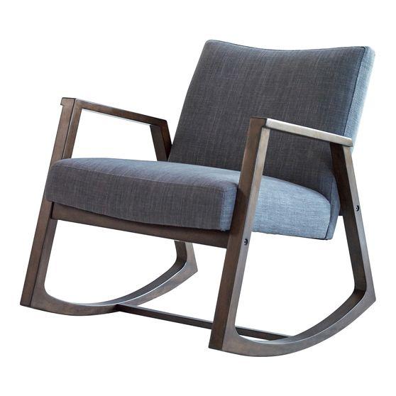 Mid-century design gray fabric rocking chair