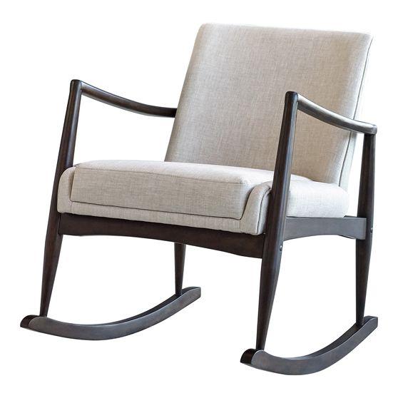 Mid-century style beige fabric rocking chair