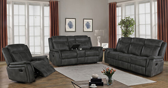 Motion sofa upholstered in charcoal performancegrade coated microfiber