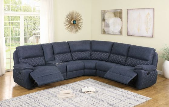 6 pc motion sectional in blue faux suede