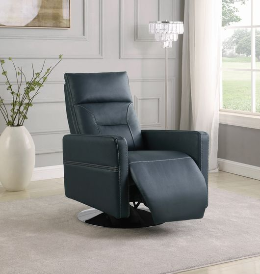 Swivel push-back recliner in ink blue fabric