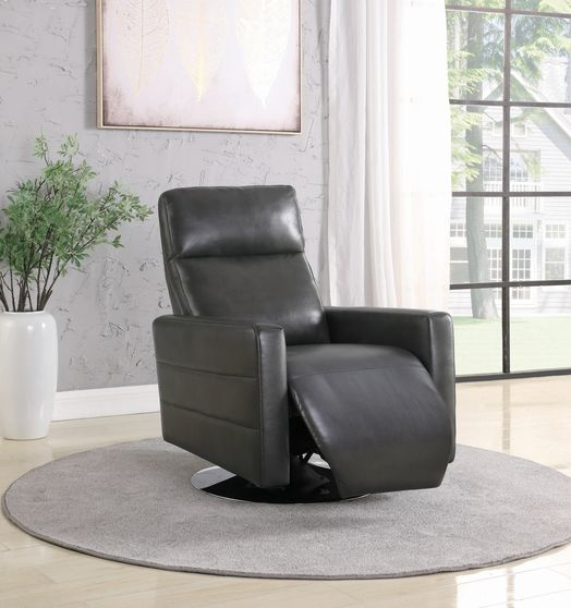 Swivel push-back recliner in charcoal gray chair