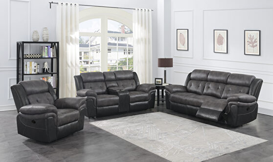 Motion sofa in charcoal with matching black exterior