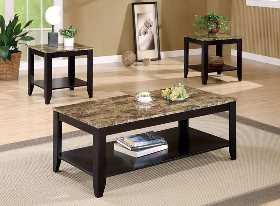 Marble like coffee table set in brown