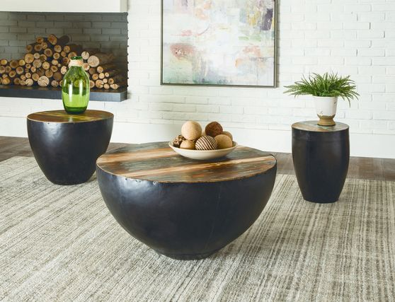 Black iron tapered drum style coffee table
