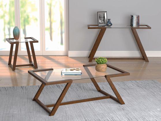 Glass top / cinnamon wood coffee table