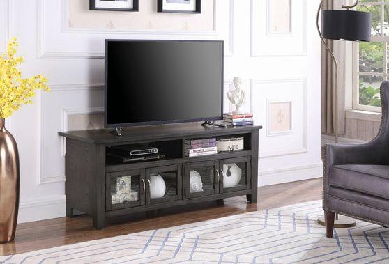 Transitional dark grey 60-inch tv console