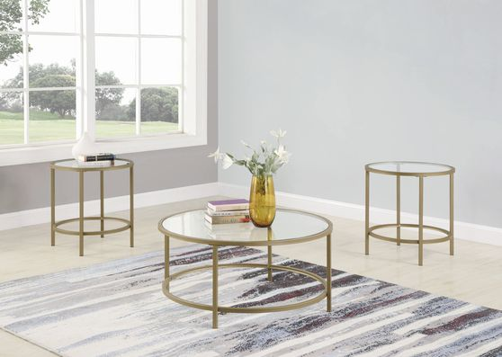 3 pc set in brass finish / glass top