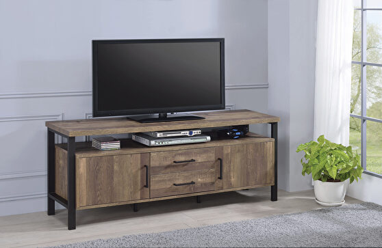 Metal frame and hardware in a black finish 59 TV console
