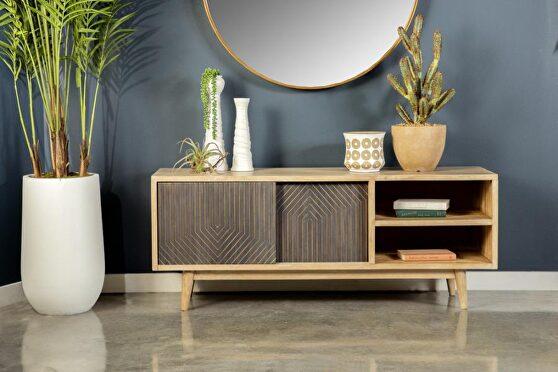 Mango wood and engineered wood TV console