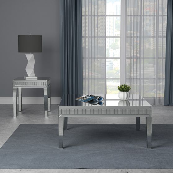Coffee table in silver mirrored contemporary style