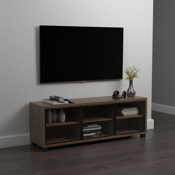 59-inch tv console in aged walnut