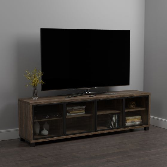 71 inch tv console in aged walnut