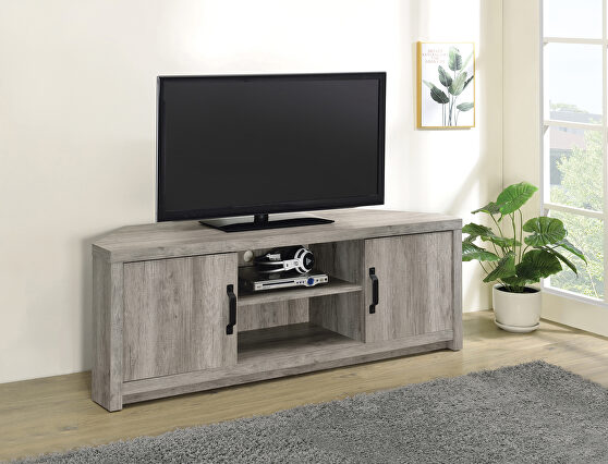 Weathered finish in gray driftwood TV console