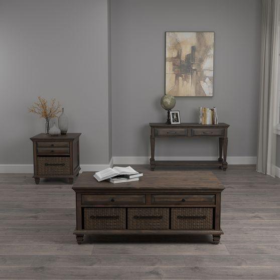 Weathered burnish brown coffee table w/ drawers