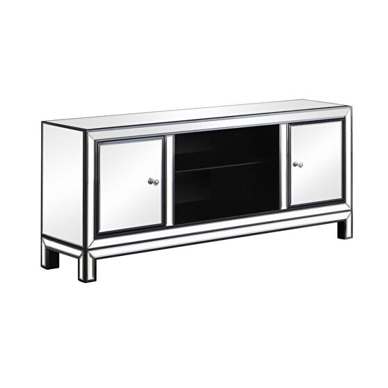 Tv console with mirror, engineered wood, stainless steel and birchwood