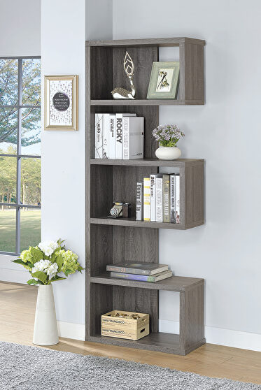 Contemporary weathered gray bookcase