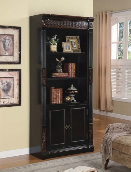 Traditional black chestnut wood bookcase