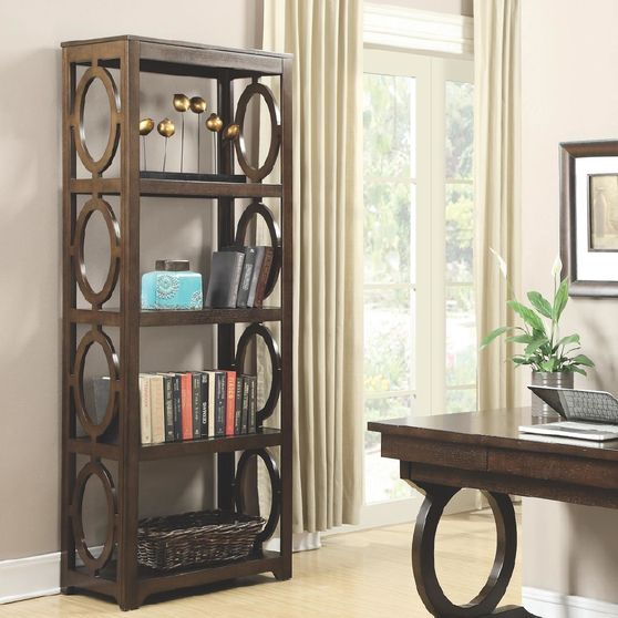 Transitional chestnut bookcase