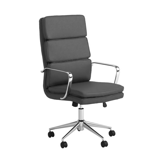 Office / computer chair in gray leatherette / chrome