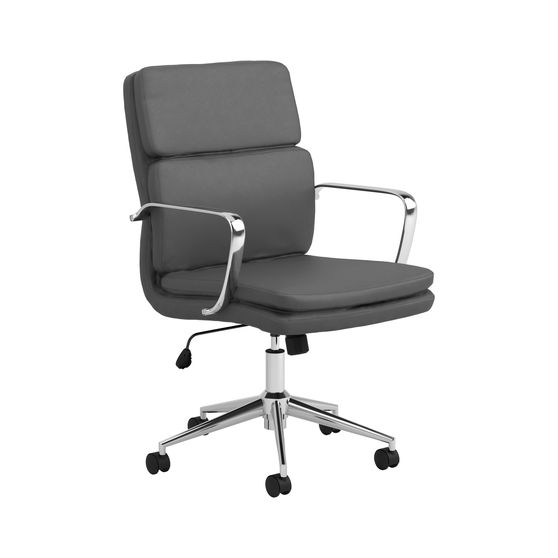Adjustable height gray leatherette office chair